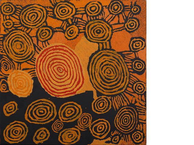 Johnny Yungut Tjupurrula (born circa 1930) Untitled (Tingari ceremonies at Wilkinkarra)