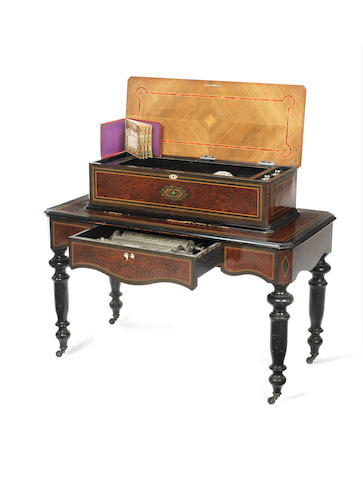 A 'Harpe Harmonie-Piccolo Zither' interchangeable cylinder musical box-on-stand, by Paillard, circa 1887,