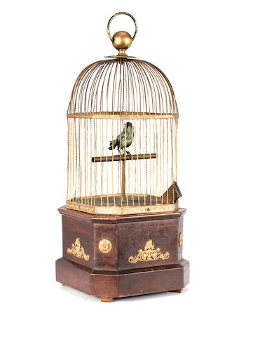 A coin-operated singing bird-in-cage, by Ami Rivenc, circa 1895,