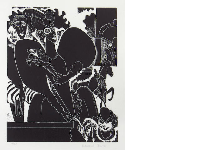 Edward Burra (British, 1905-1976) Mary Queen of Scots  Woodcut, date?, on wove, signed and numbered 9/45 in pencil, 300 x 250mm (11 7/8 x 9 3/4in)  set of 8