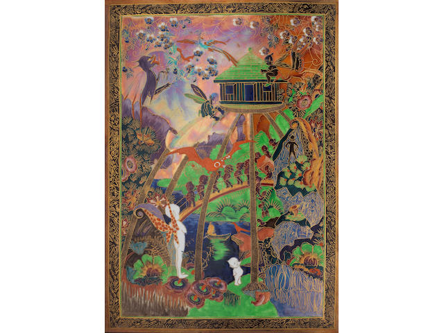 Daisy Makeig-Jones for Wedgwood 'Imps on a Bridge and Tree House' an Important Flame Fairyland Lustre Plaque, circa 1926
