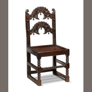 A Charles II oak backstool Yorkshire/Derbyshire, circa 1670