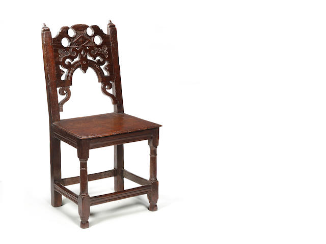A rare Charles II oak backstool North-West, Manchester, circa 1660