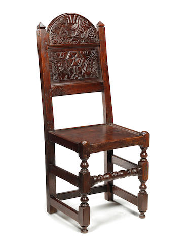 A Charles II style oak backstool Southern Lancashire/North Cheshire manner