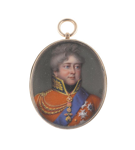 Henry Bone, R.A. (British, 1755-1834) George IV (1762–1830), King of the United Kingdom of Great Britain and Ireland and of Hanover (1820-1830), wearing red coat with blue standing collar edged and embroidered with gold, gold braiding suspended from his gold epaulette, black stock, medals on a red sash ribbon suspended from his neck including that of the Golden Fleece, blue sash, the breast star of the Order of the Holy Spirit amongst others on his left