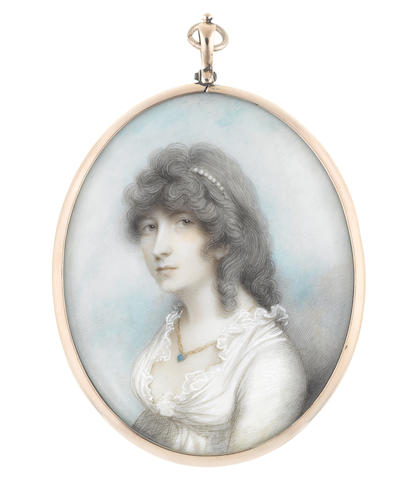 Andrew Plimer (British, 1763-1837) Frances Doyle (d.1806) née Rainsford, wearing white dress with frilled trim, a turquoise pendant on a gold chain suspended from her neck, her powdered hair dressed with a strand of pearls