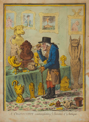 James Gillray (British, 1757-1815) A Cognocenti contemplating ye Beauties of ye Antique Etching with handcolouring, 1801, on wove, published Feb. 11th by H.Humphrey, 360 x 250mm (14 1/8 x 10in)(PL); together with 'An Old Maid on a Journey' etching with handcolouring, 1804, on wove, published Nov. 20th by H.Humphrey, 250 x 380mm (10 x 15in)(PL)(2)