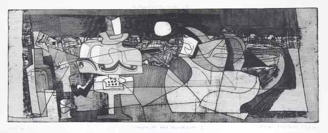 Bryan Ingham (British, 1936-1997) Lamplight and Moonlight I Etching, 1988, on wove, signed, dated, titled, numbered 'xii/xii' and inscribed 'For Aysel with love Bryan' in pencil, 208 x 595mm (11 x23 1/2in)(PL)