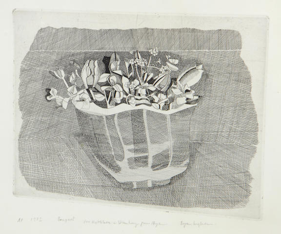 Bryan Ingham (British, 1936-1997) Bouquet Etching, 1972, on wove, signed, dated, titled and inscribed 'AP' and 'For Kathleen and Stanley from Bryan' in pencil, as included in the Penwith Portfolio No.15, printed by the Penwith Gallery print workshop and Curwen Press, Chilford, published by the Penwith Society of Artists, St. Ives, with margins, 310 x 250mm (12 1/8 x 9 3/4in)(PL)