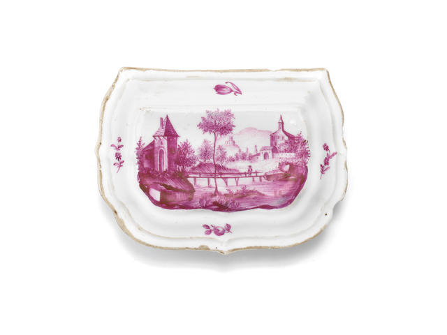 A finely painted German snuff box, probably Fürstenberg, circa 1770