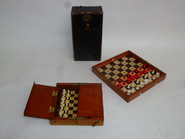 "An ""In Statu Quo"" travelling chess set, Jaques & Son Ltd, circa 1900,"
