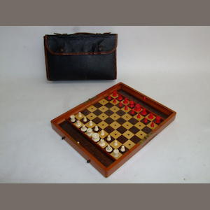 "An ""In Statu Quo"" travelling chess set, J. Jaques & Son, London,"
