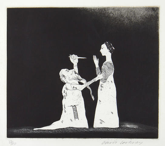 David Hockney R.A. (British, born 1937) Old Rinkrank Threatens the Princess Etching and aquatint, 1969, on wove, signed and numbered 72/100 in pencil, published by Petersburg Press, London, one of five illustrations to 'Old Rinkrank' from the series 'Six Fairy Tales from the Brothers Grimm',445 x 400mm (17.5 x 15 3/4in)(SH), 230 x 265 mm (9 x 10 1/2in)(I)