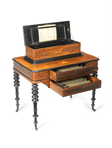 An interchangeable cylinder musical box-on-stand, by Paillard, circa 1883,