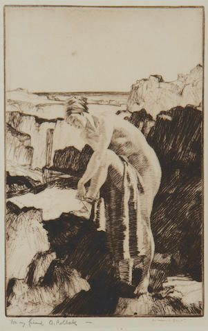 Sir William Russell Flint R.A., P.R.W.S. (British, 1880-1969) Celinda's Precaution Drypoint, 1931, on wove, signed in pen, inscribed in pencil 'For my friend O. Pollak', 185 x 115mm (7 1/3 x 4 1/2in)