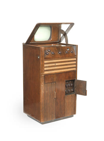 An exceptionally rare Baird type T5 mirror-lid television receiver, dated 29th September 1936,