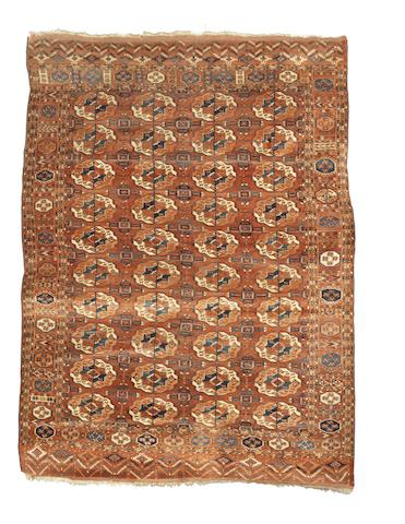 A Tekke carpet, West Turkestan, circa 1880, 8 ft 10 in x 6 ft 6 in (269 x 196 cm) minor wear in main field, some losses to original kilim finish