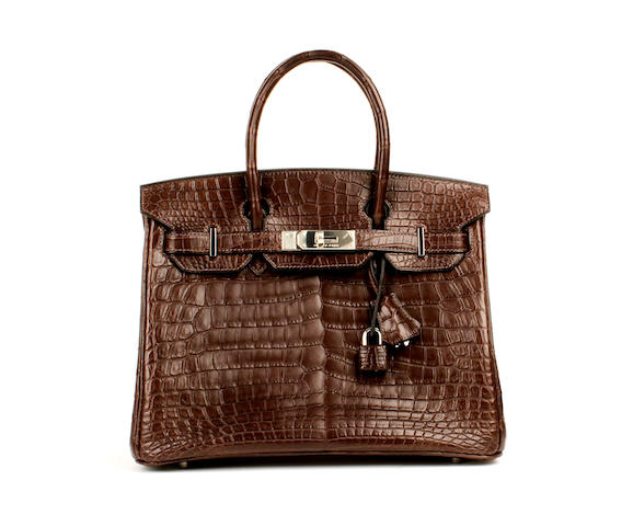 An Hermès dark brown matt crocodile Birkin bag, 2008