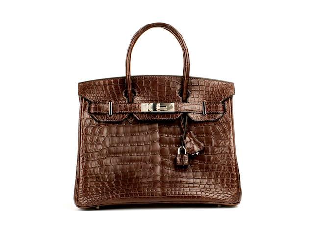 An Hermès dark brown matt crocodile Birkin bag, 2008