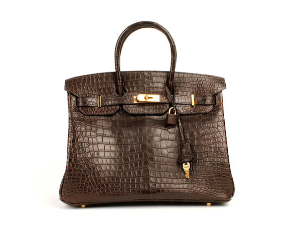 An Hermès dark brown matt crocodile Birkin bag, 2003