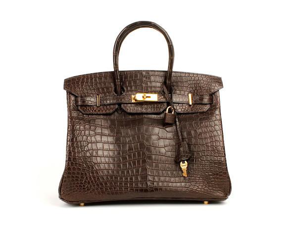 An Hermès dark matt brown crocodile Birkin bag, 2003