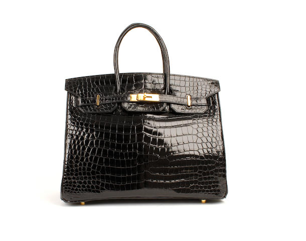 An Hermès black patent crocodile Birkin bag, 2003