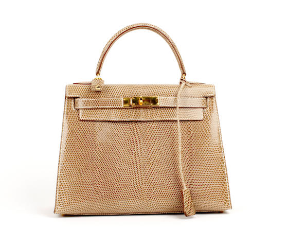 An Hermès light brown lizard Kelly bag, 1996