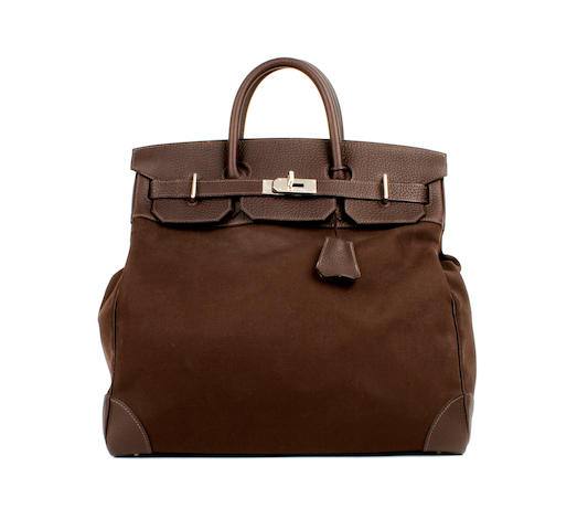 An Hermès brown canvas and togo leather Haute a Carrois bag, 2003