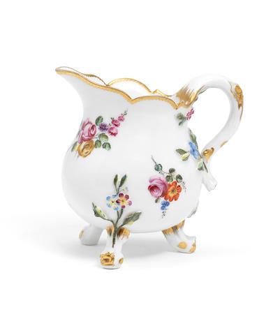 A Vincennes milk jug, circa 1754-55