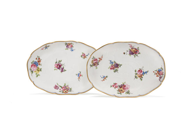 A pair of Sèvres oval dishes, circa 1766