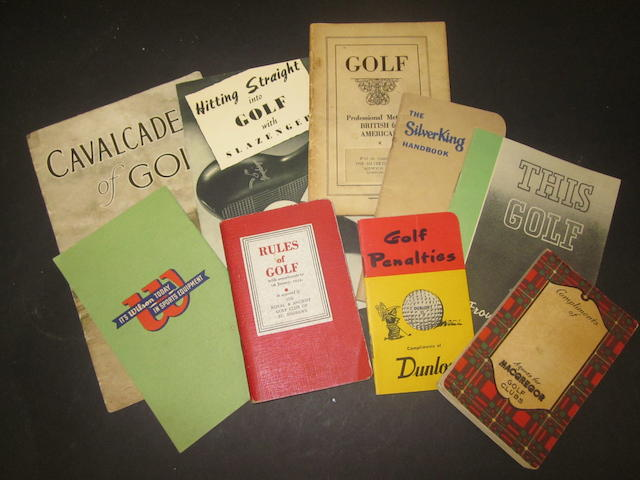 A collection of golf ball pamphlets and leaflets