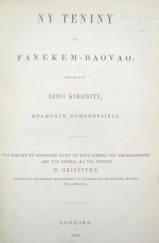 BIBLE, New Testament in Malagasy Ny Teniny, ny Fanekem-Baovao, milaza any Iesio Kiraisty, Mpamonjy, Tompontsikia...ka voa hitsiny D. Griffiths, 1855