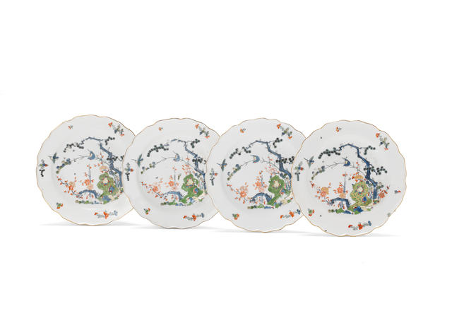 A set of four Meissen plates, circa 1740