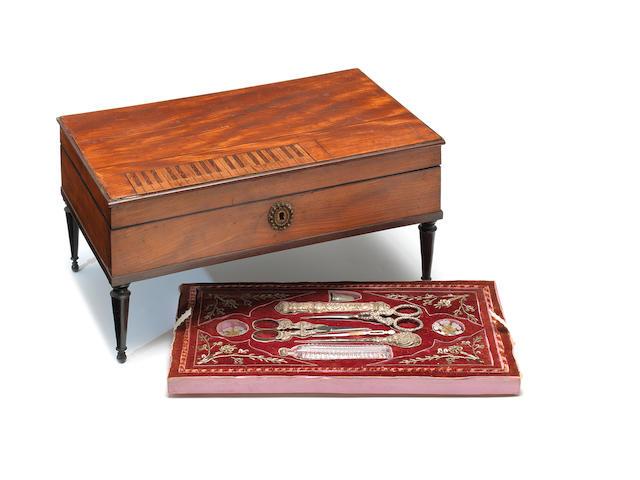 A musical neccesaire in square piano-form case, by Alibert, circa 1825,