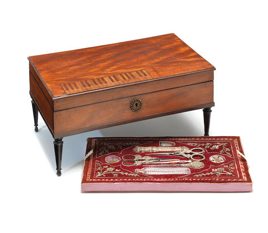 A musical neccesaire in square piano-form case, by Alibert, circa 1825,