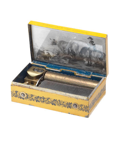 A superb lithographed tinplate musical snuffbox, by Alibert, circa 1845,