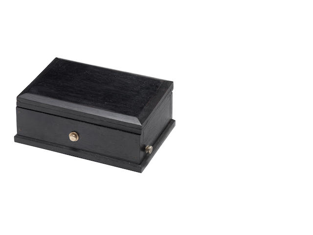 An early musical snuffbox movement, in ebonised case, the movement circa 1835,