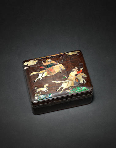 A hardwood inlaid box