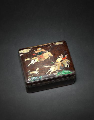 An inlaid hardwood, rectangular box