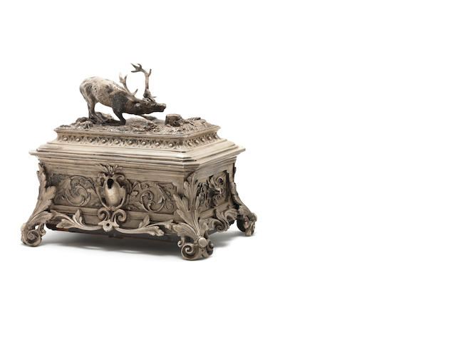 A white metal stag trophy musical trinket box, by F. Conchon, circa 1880,