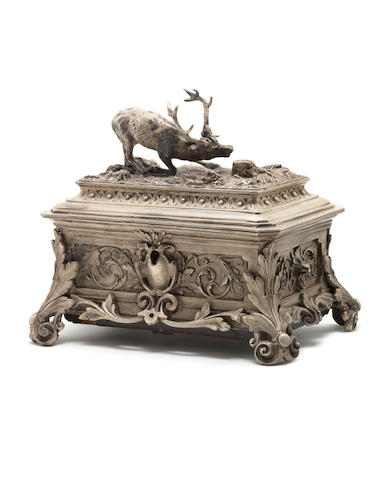A white metal stag trophy musical trinket box, by F. Conchon, circa 1880,