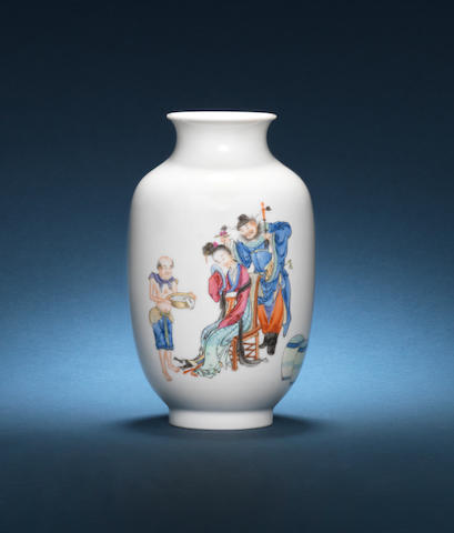 A famille rose oviform vase 20th century, square seal mark Tong yun shan fang