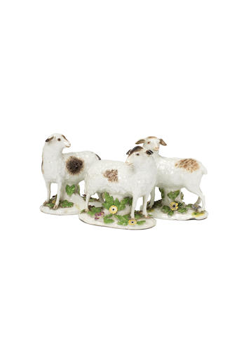 Three Meissen models of sheep, circa 1750-55