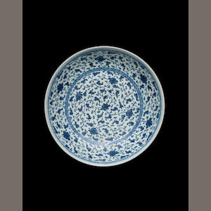A blue and white circular dish 18th century