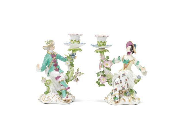 A pair of Meissen figural candelabra, circa 1750