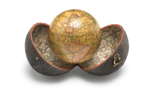 A fine Nicholas Lane 2 3/4-inch pocket globe, English, published 1779,