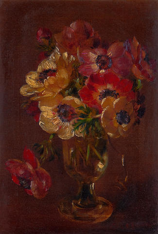 Cecil Kennedy (British, 1905-1997) Anemones in a glass vase