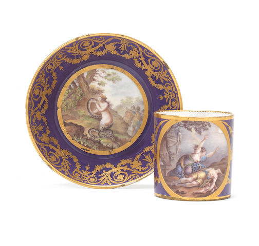 A Sèvres coffee can and saucer, circa 1790