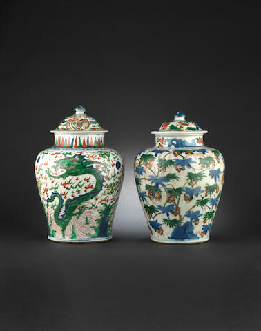 Two Wucai vases and collers, transitional (damaged)