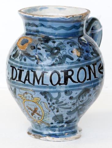 A tin-glazed earthenware drug jar